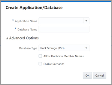 Oracle Create Application Dialogue Box