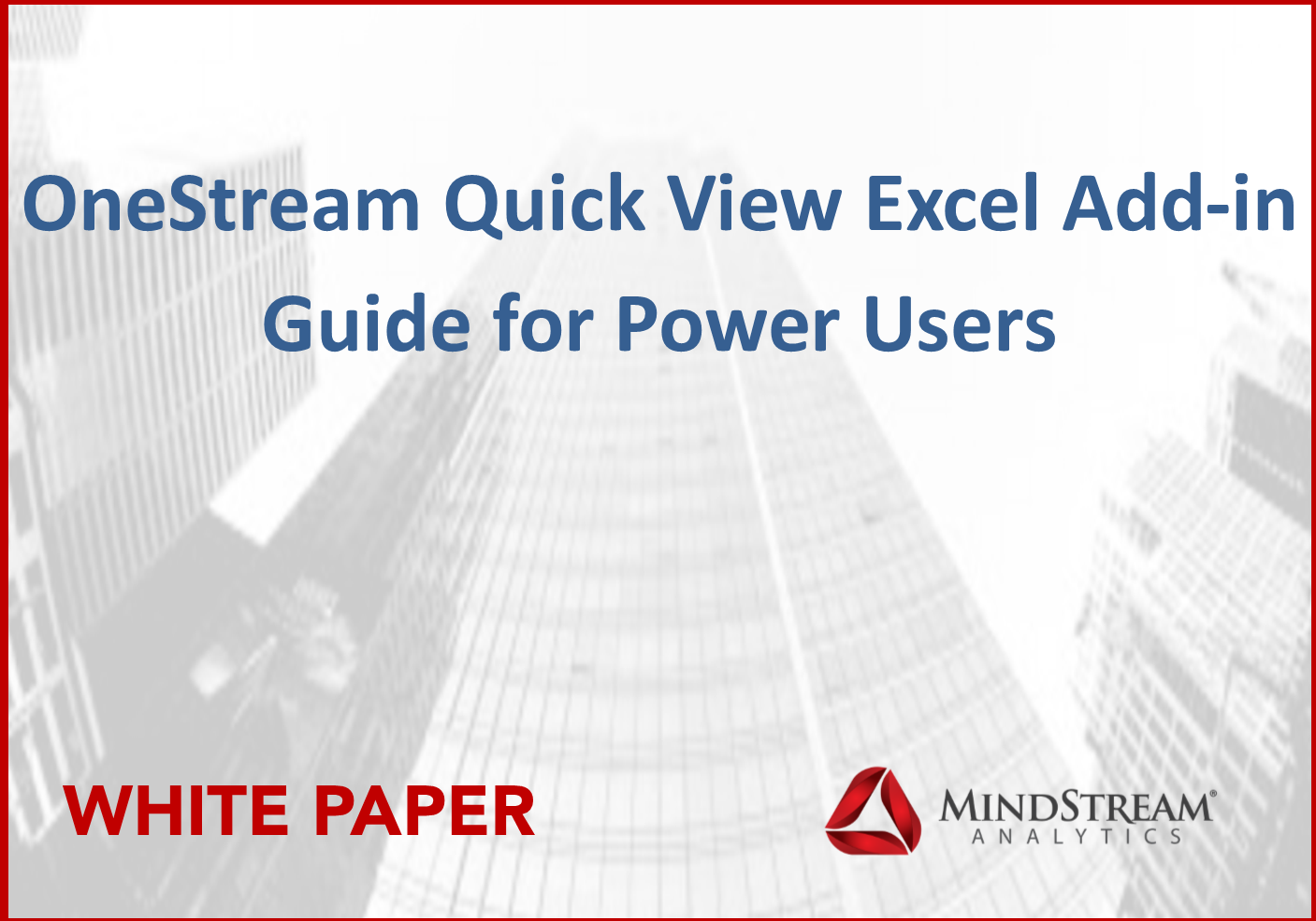 OneStream Excel Add In